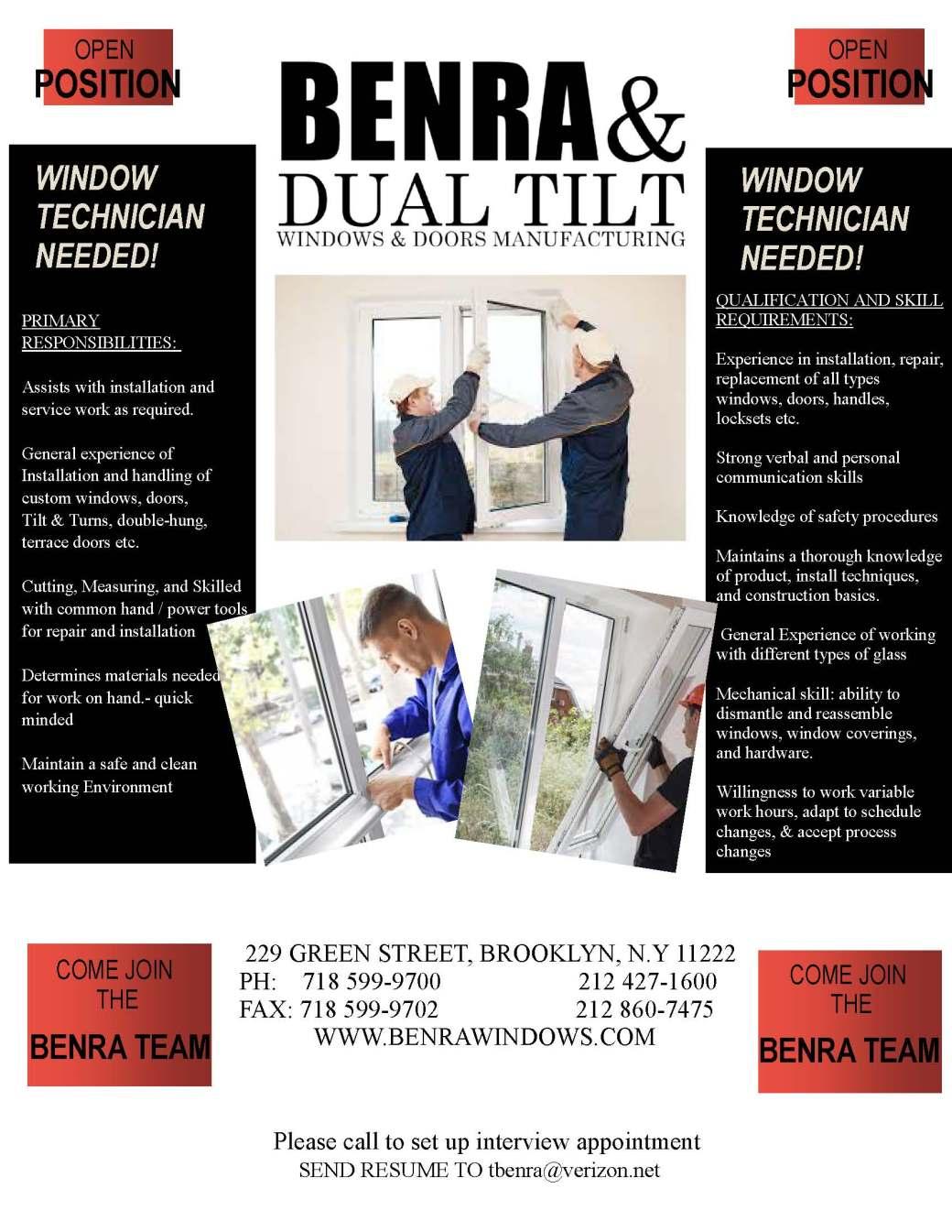BENRA & DUAL TILT WINDOWS & DOORS FLYER