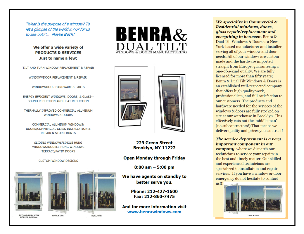 BENRA & DUAL TILT WINDOWS & DOORS MFG