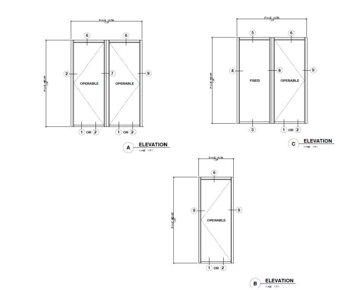 Aluminium Terrace Door Elevation Details